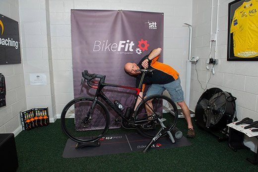 Mark from Velo Coaching setting up bicycle height