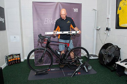 Mark from Velo Coaching setting up bicycle level